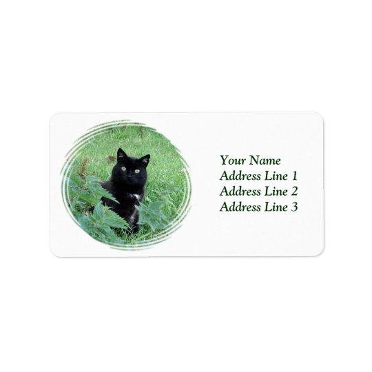 Halloween Black Cat in Grass Avery Address Label