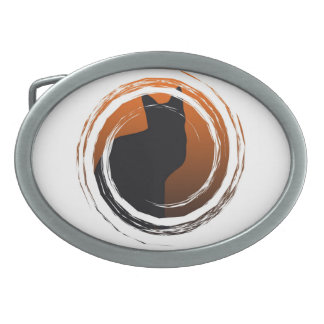 Halloween Black Cat in Spiral Design Belt Buckles