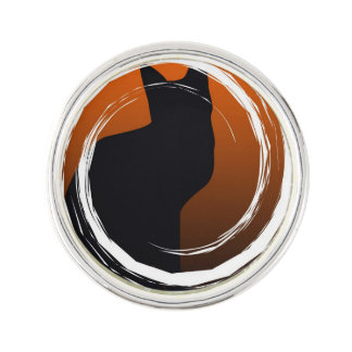 Halloween Black Cat in Spiral Design Lapel Pin
