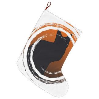 Halloween Black Cat in Spiral Design Large Christmas Stocking