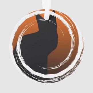 Halloween Black Cat in Spiral Design Ornament