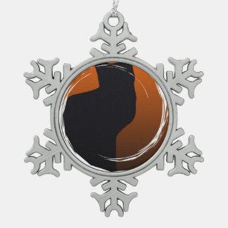 Halloween Black Cat in Spiral Design Pewter Snowflake Ornament