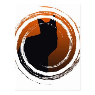 Halloween Black Cat in Spiral Design Postcard