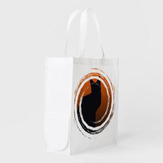 Halloween Black Cat in Spiral Design Reusable Grocery Bag