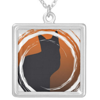 Halloween Black Cat in Spiral Design Silver Plated Necklace