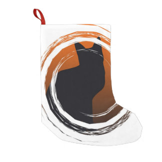 Halloween Black Cat in Spiral Design Small Christmas Stocking