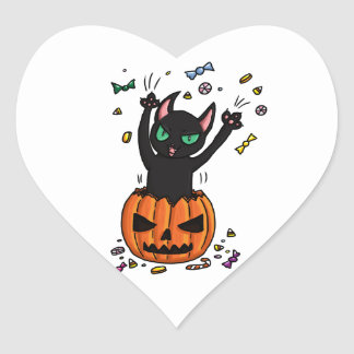 Halloween Black cat jumping out of a pumpkin Heart Sticker