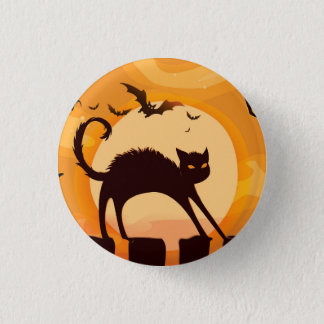 Halloween Black Cat on the Fence 1 Inch Round Button