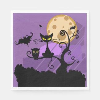 Halloween Black Cat Owl Bat & Moon Purple & Black Paper Napkin