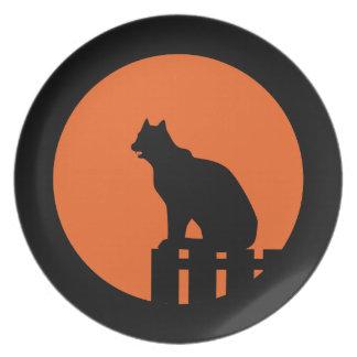 Halloween Black Cat Plate
