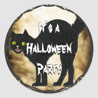 HALLOWEEN Black Cat Printed Faux Burnt Parchment Round Sticker
