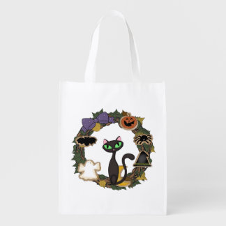 Halloween Black Cat Reusable Grocery Bag