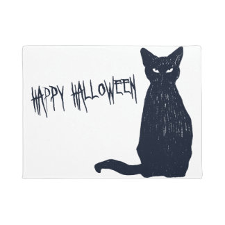 Halloween Black Cat Silhouette Doormat
