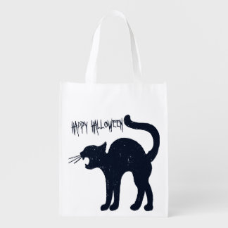 Halloween Black Cat Trick or Treat Reusable Grocery Bag