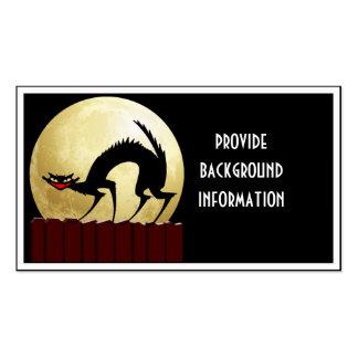 Halloween Black Cat w/Full Moon Business Card Templates