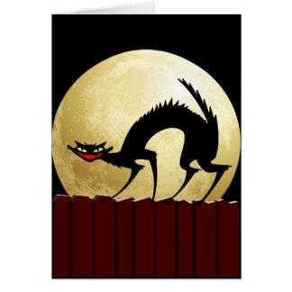 Halloween Black Cat w/Full Moon Card