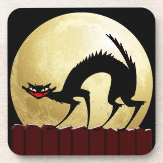 Halloween Black Cat with Full Moon Coasters