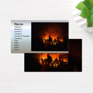 Halloween Black Cat with Luminaries and Bats Business Card