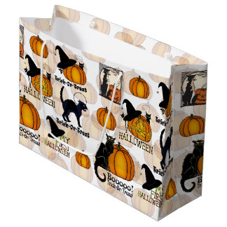 Halloween Black Cats, Pumpkins, & Witch's Hats #4 Large Gift Bag