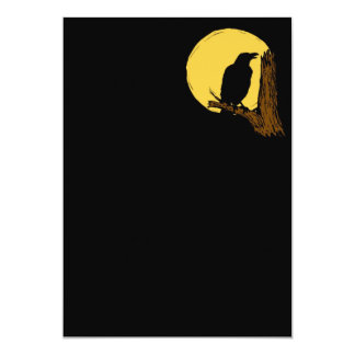 Halloween Black Crow and Moon Invitation