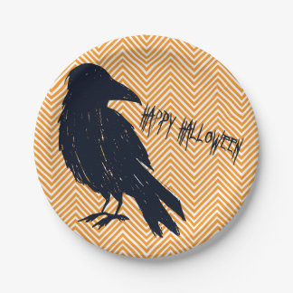 Halloween Black Crow Orange Chevron Paper Plate