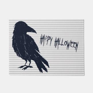 Halloween Black Crow Silhouette Striped Doormat