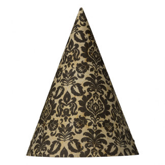 Halloween Black Damask Grunge Party Hat