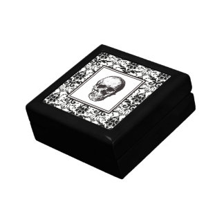 HALLOWEEN Black Damask Pattern Skull Gift Box