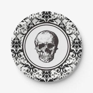 HALLOWEEN Black Damask Pattern Skull Gothic Paper Plate