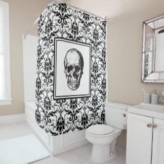 HALLOWEEN Black Gothic Damask Pattern Skull