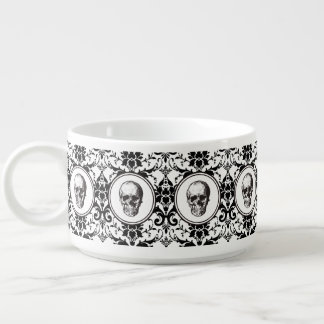 HALLOWEEN Black Gothic Damask Pattern Skull Bowl