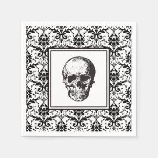 HALLOWEEN Black Gothic Damask Pattern Skull Disposable Napkin