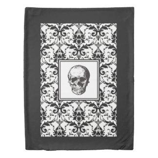 HALLOWEEN Black Gothic Damask Pattern Skull Duvet Cover