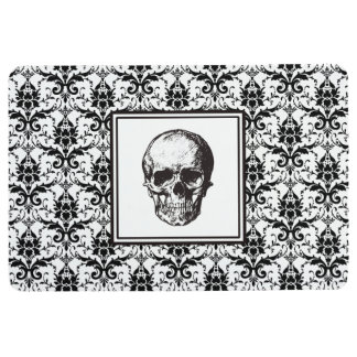HALLOWEEN Black Gothic Damask Pattern Skull Floor Mat