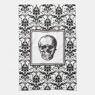 HALLOWEEN Black Gothic Damask Pattern Skull Kitchen Towel
