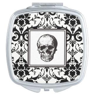 HALLOWEEN Black Gothic Damask Pattern Skull Makeup Mirror