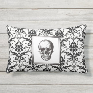 HALLOWEEN Black Gothic Damask Pattern Skull Outdoor Pillow