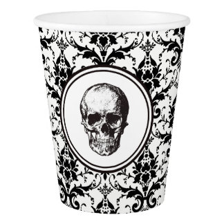 HALLOWEEN Black Gothic Damask Pattern Skull Paper Cup