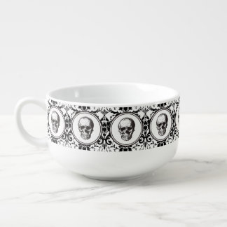 HALLOWEEN Black Gothic Damask Pattern Skull Soup Bowl With Handle