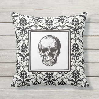 HALLOWEEN Black Gothic Damask Pattern Skull Throw Pillow