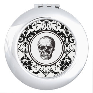 HALLOWEEN Black Gothic Damask Pattern Skull Travel Mirror
