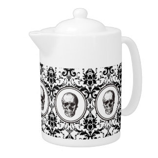 HALLOWEEN Black Gothic Style Damask Pattern Skull