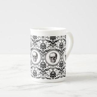HALLOWEEN Black Gothic Style Damask Pattern Skull Tea Cup