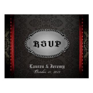 Halloween Black Gray Red Gothic RSVP PostCard