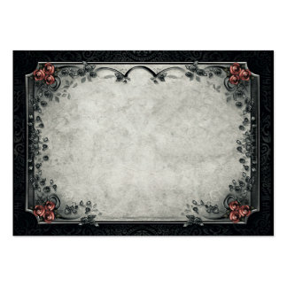 Halloween Black & Gray Red Roses BLANK Place Card Large Business Card