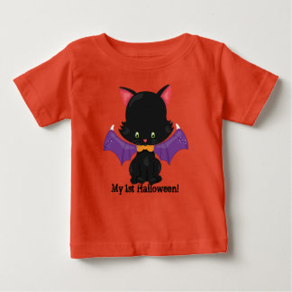 Halloween Black Kitten with Bat Wings Baby T-Shirt