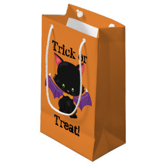 Halloween Black Kitten with Bat Wings Small Gift Bag