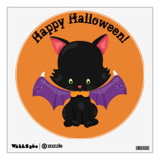 Halloween Black Kitten with Bat Wings Wall Decal