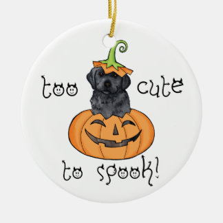 Halloween Black Lab Round Ceramic Ornament