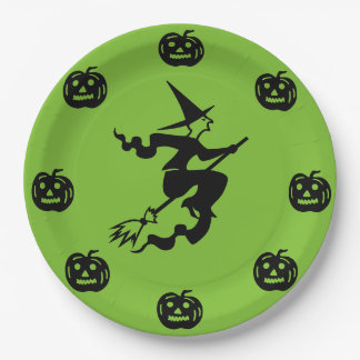 Halloween - Black Pumpkins & Witch 9 Inch Paper Plate